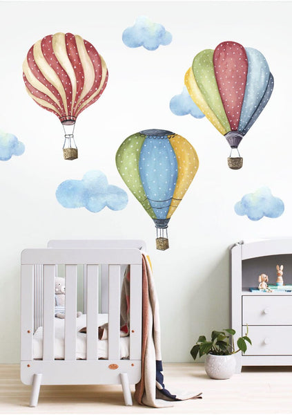 Hot Air Balloon And Clouds Wall Sticker Kids Decals - Just Kidding Store