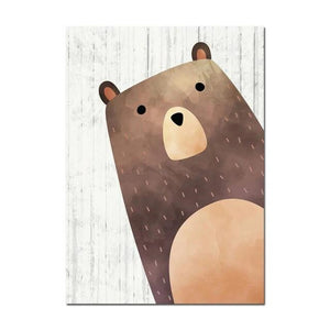 Woodland Animals Kids Canvas Art Raccoon Bear Fox - Just Kidding Store
