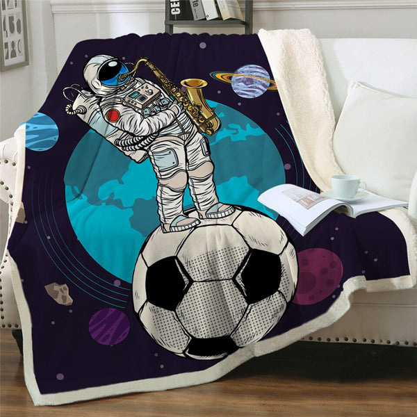 Spaceman Outer Space Kids Soft Sherpa Blanket - Just Kidding Store