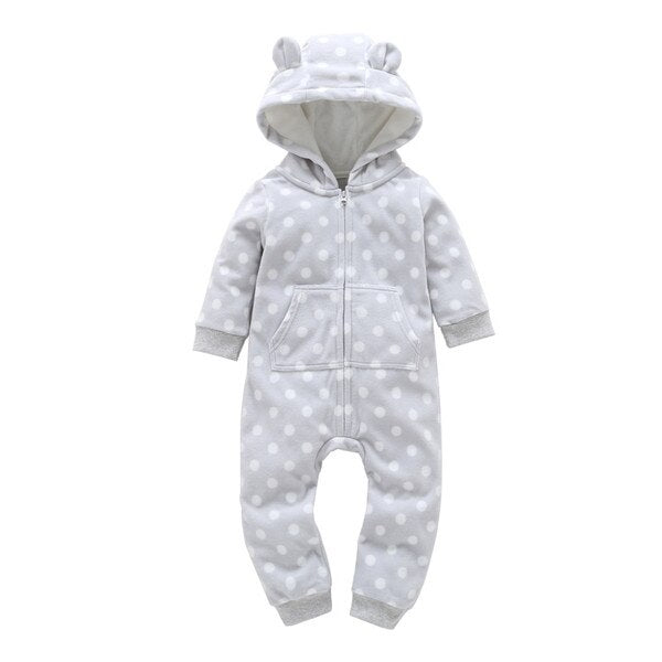 White Dots Romper - Baby KIds Winter Jumpsuit - Just Kidding Store