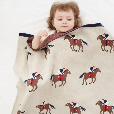 Brown Horse Baby Kids Cotton Knitted Blanket - Just Kidding Store