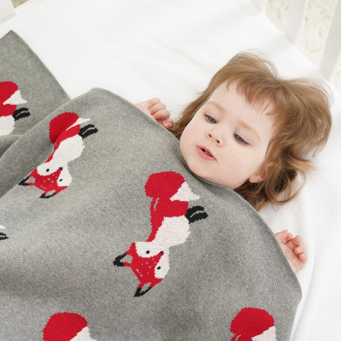 Red Foxes Baby Kids Cotton Knitted Blanket - Just Kidding Store