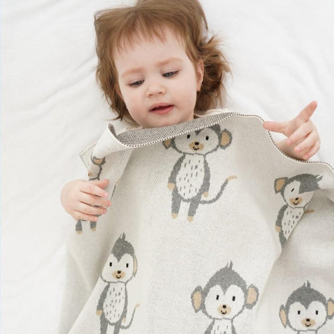 Little Monkey Cotton Baby Kids Knitted Blanket - Just Kidding Store