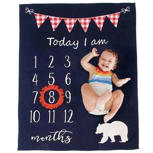 Bear Monthly Milestone Cotton Blanket Navy Red Beige - Just Kidding Store