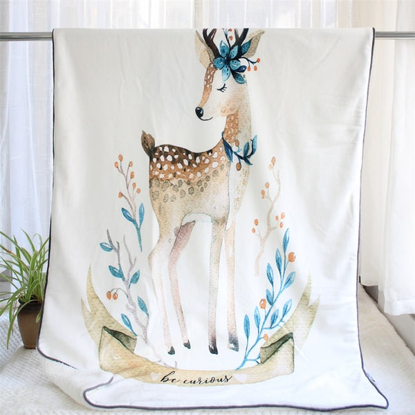 Luxuriously Soft Sherpa Blanket - Deer Bear Hedgehog Fox Unicorn Cactus - Just Kidding Store
