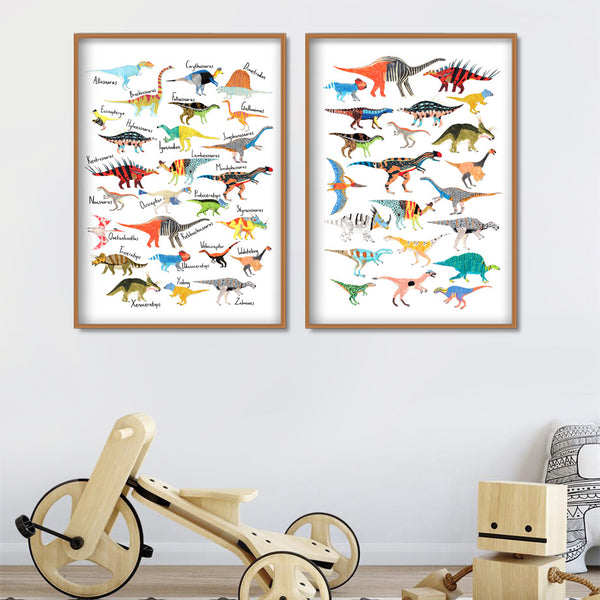 Guide To Dinosaurs Kids Canvas Wall Art - Just Kidding Store