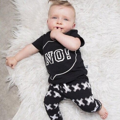 Kids Monochrome No! Pajama Set - Just Kidding Store