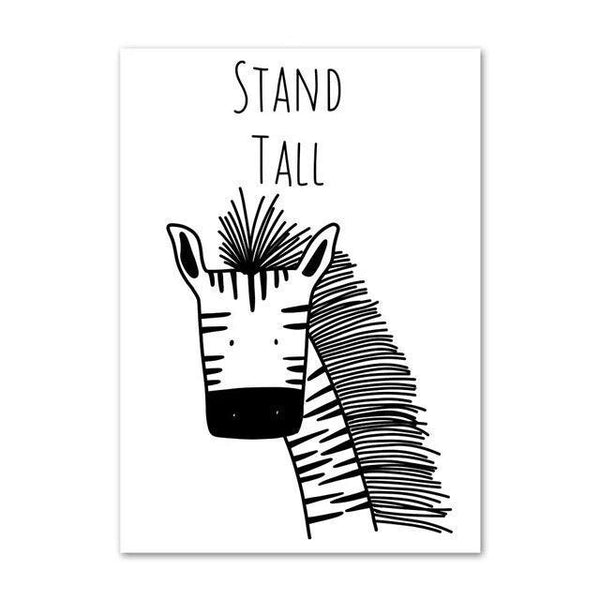 Monochrome Canvas Kids Wall Art Nordic Animal Series - Just Kidding Store