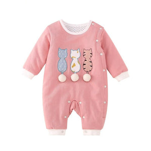 Pink Cats Baby Toddler Winter Romper - Just Kidding Store