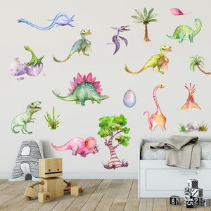 Watercolor Dinosaurs Wall Sticker Kids Dino Decal - Just Kidding Store