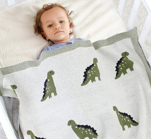 Little Dinosaur Baby Kids Cotton Knitted Blanket - Just Kidding Store