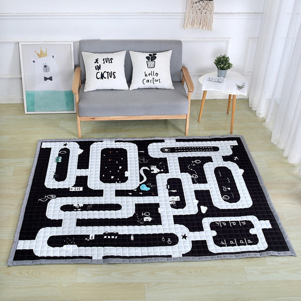 Road Map Oversized Quilted Play Mat Anti Skid Carpet - Just Kidding Store