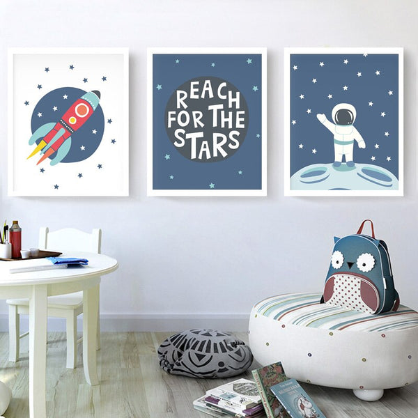 Dream Big - Space Series Kids Canvas Wall Art - Just Kidding Store