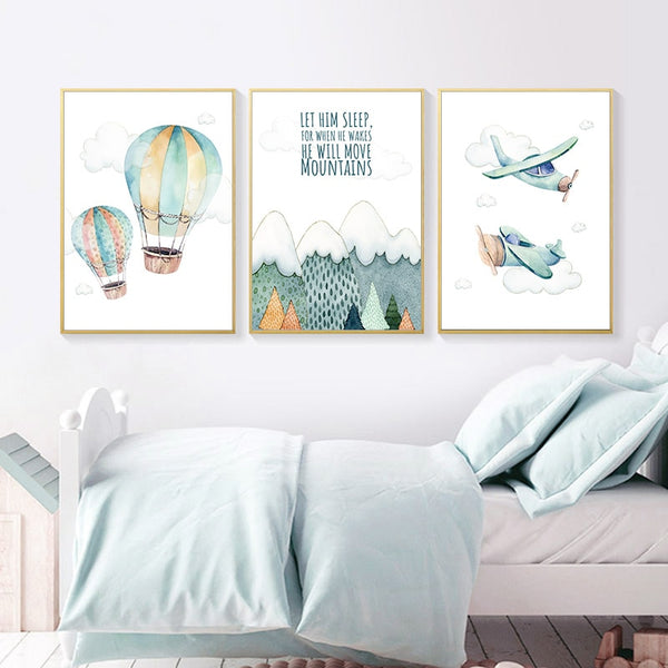 Up, Up And Away Watercolor Canvas Painting Wall Art - Just Kidding Store