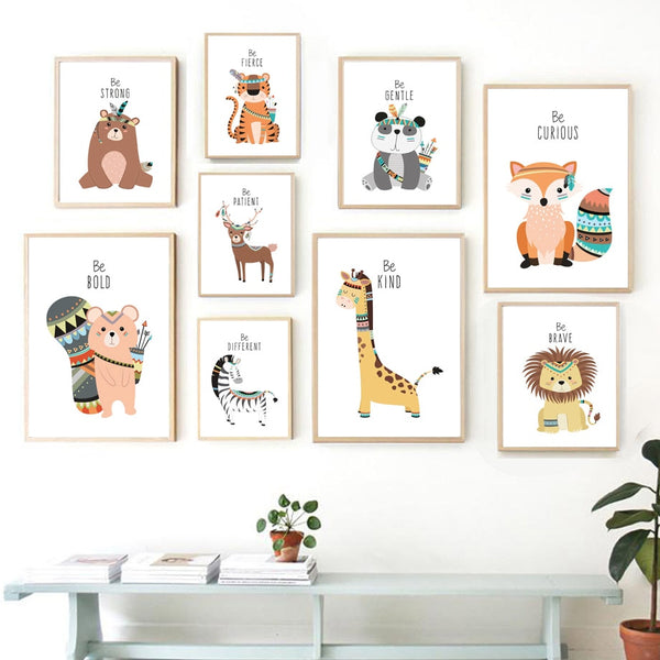 Tribal Animals Kids Canvas Wall Art - Deer Fox Bear Zebra Panda Owl Lion Tiger Squirrel - Just Kidding Store