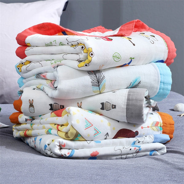 Dinosaur 4 Layers Bamboo Fiber Blanket Baby Muslin Wrap - Just Kidding Store