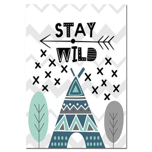 Nordic Canvas Wall Art Dream Big, Stay Wild, Bear - Just Kidding Store