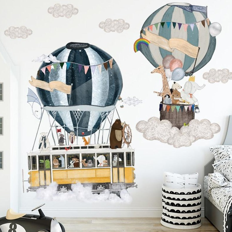 Hot Air Balloons Animals Travel Wall Decal Kids Wall Stickers - Just Kidding Store