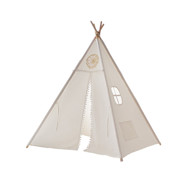 Four Poles White Teepee -  Kids Play Tent - Just Kidding Store