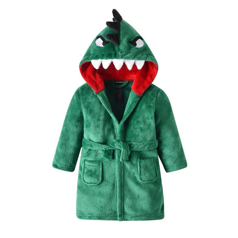 Green Dinosaur Kids Hooded Robe Dino Dressing Gown - Just Kidding Store