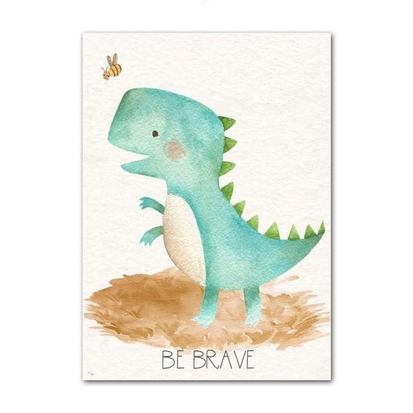 Watercolor Nursery Canvas Art Dinosaur Wall Prints - Just Kidding Store