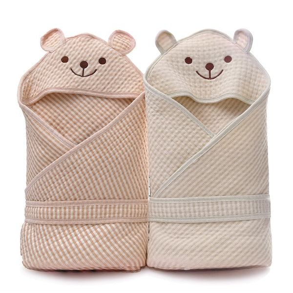 Cotton Muslin Baby Hooded Swaddle Towel - Just Kidding Store