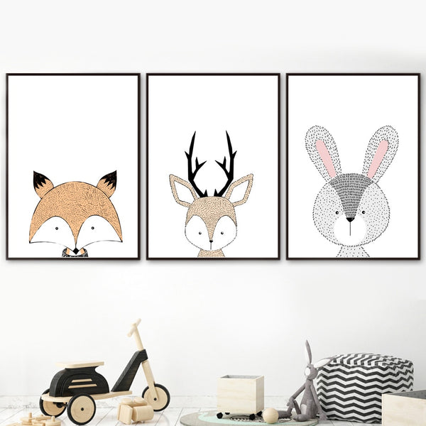 Canvas Woodland Wall Art - Lion, Deer, Fox, Owl, Bear, Rabbit, Tiger - Just Kidding Store
