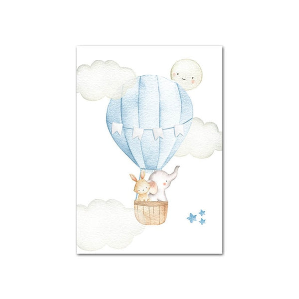 Hot Air Balloon Canvas Wall Art Childrens Posters - Just Kidding Store