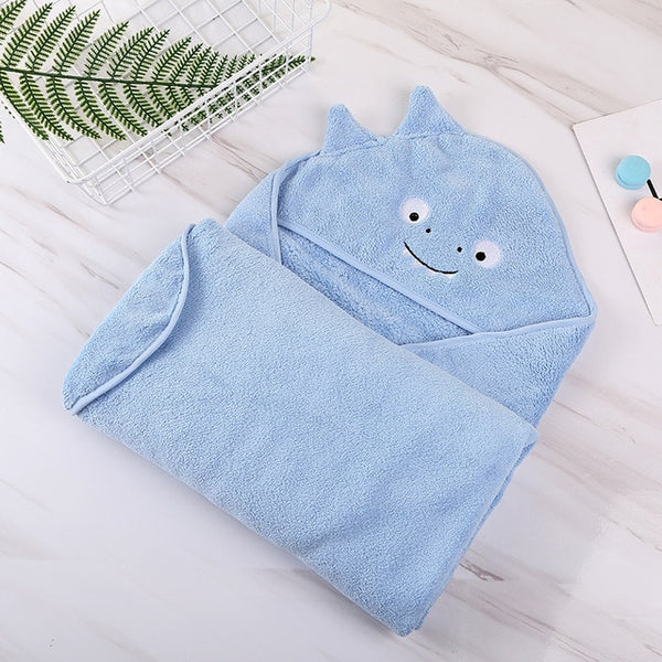 Hooded Fleece Towel - Baby Kids Bath Poncho Wrap - Just Kidding Store
