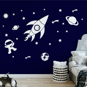 Space Rocket Wall Sticker Set Children's Decals - Just Kidding Store