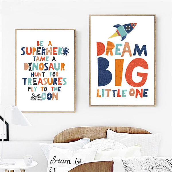 Childrens Inspiring Quotes Wall Canvas Art - Nursery Prints - Just Kidding Store