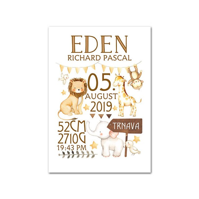 Custom Baby Birth Stats Canvas Wall Art - Personalized Nursery Poster
