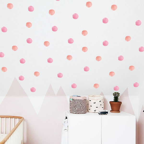 Watercolor Dot Wall Decal - Wall Stickers Green, Violet, Pink/Peach - Just Kidding Store