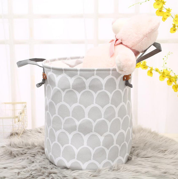 Monochrome Round Kids Toy Storage Laundry Basket - Just Kidding Store