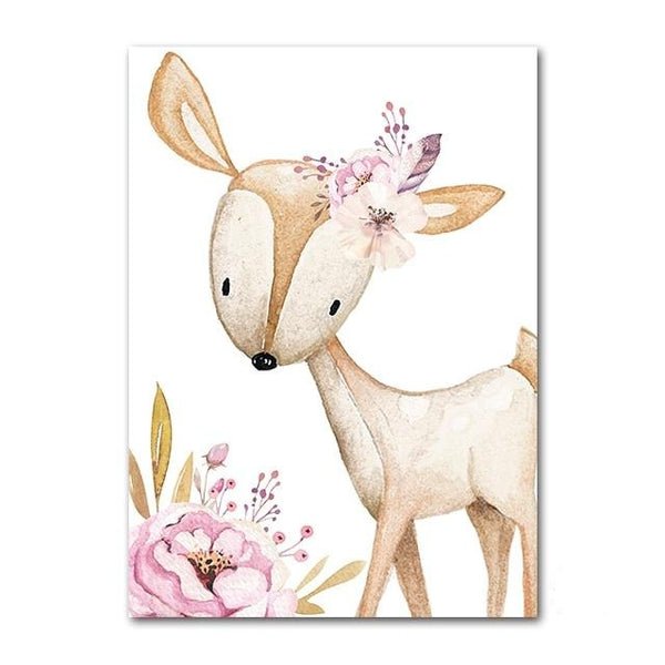 Woodland Animals Canvas Art Nursery Custom Name Wall Posters - Just Kidding Store