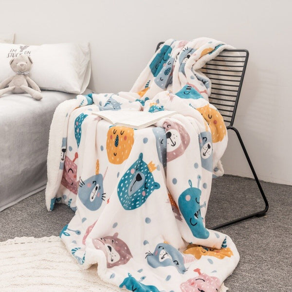 Chunky Sherpa Blanket - Double Layered Bed Throw - Just Kidding Store