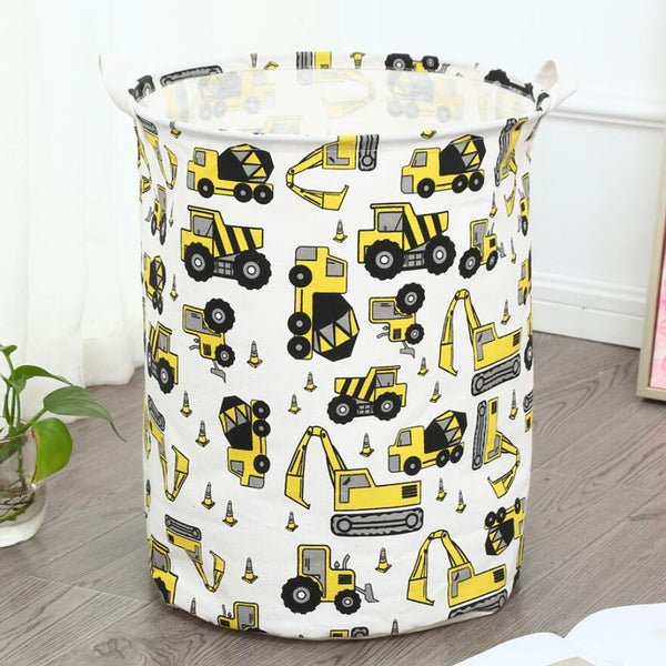 Yellow Trucks Storage Basket Kids Toy Organiser - Just Kidding Store
