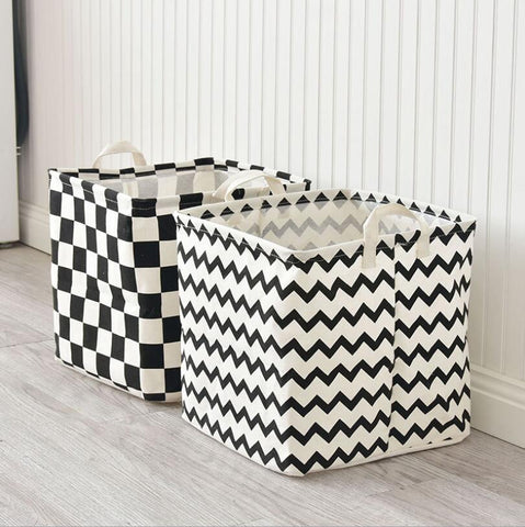 Monochrome Cube Canvas Basket - Toy Storage Box - Just Kidding Store