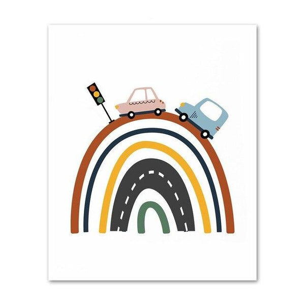 Cars And Truck Road Nursery Bedroom Canvas Wall Art - Just Kidding Store