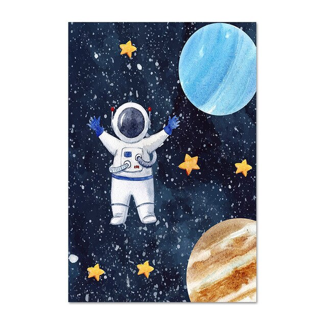 Outer Space Canvas Wall Art - Children's Posters - Just Kidding Store