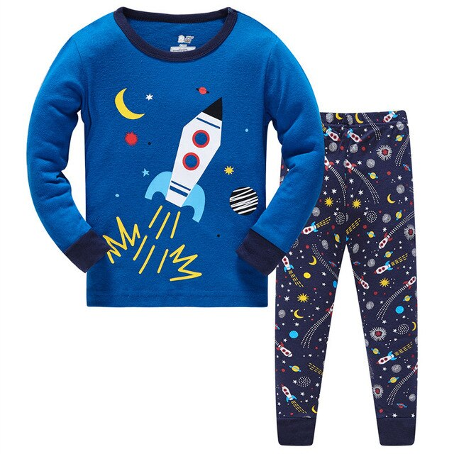 Space Rocket Kids Pajama Set Childrens Sleepwear - Just Kidding Store