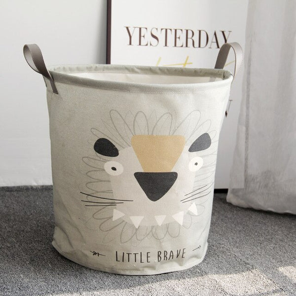 Cotton Linen Cartoon Folding Storage Basket -  Kids Toys Organizer - Just Kidding Store