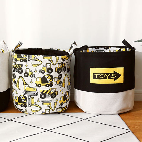 Yellow Truck Toys Organiser Canvas Storage Basket - Just Kidding Store