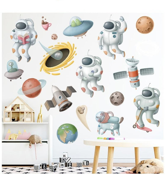Mini Astronaut Wall Decals - Outer Space Stickers - Just Kidding Store