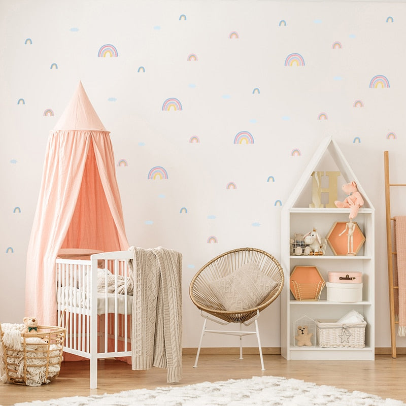 Rainbows And Clouds Wall Decals Nursery Stickers - Just Kidding Store