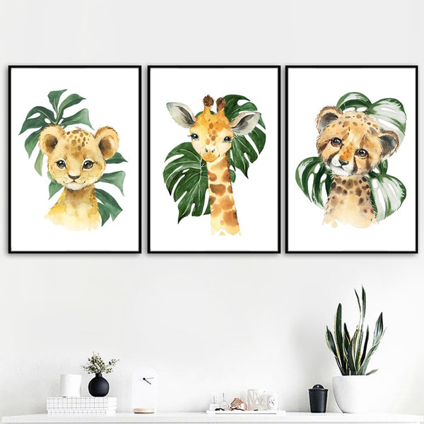 Watercolor Safari Animals Canvas Wall Art - Nursery Posters - Just Kidding Store