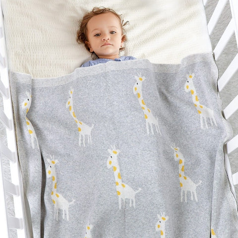 Little Giraffe Baby Children Cotton Knit Blanket - Just Kidding Store