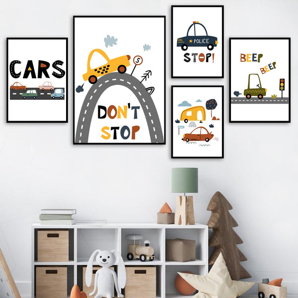 City Cars Canvas Wall Art - Nursery Posters - Just Kidding Store