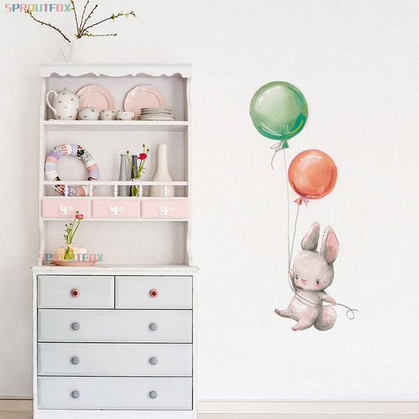 Cute Colorful Balloon Bunny Wall Sticker for Kids Room Baby Nursery Decoration Rabbit Stickers Removable Wallpaper Girl Gift