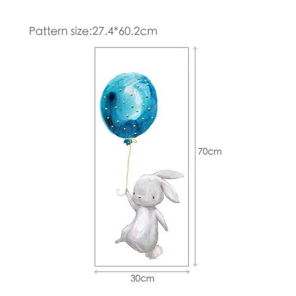 Balloon Bunny Wall Decal Childrens Wall Stickers - Just Kidding Store